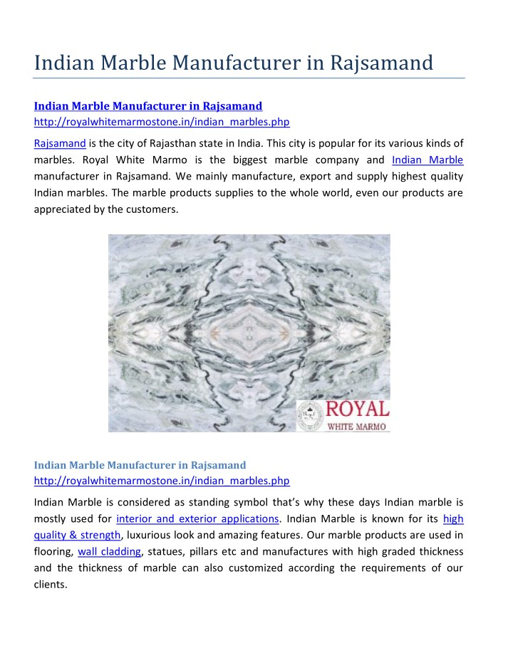 indian marble manufacturer in rajsamand n.