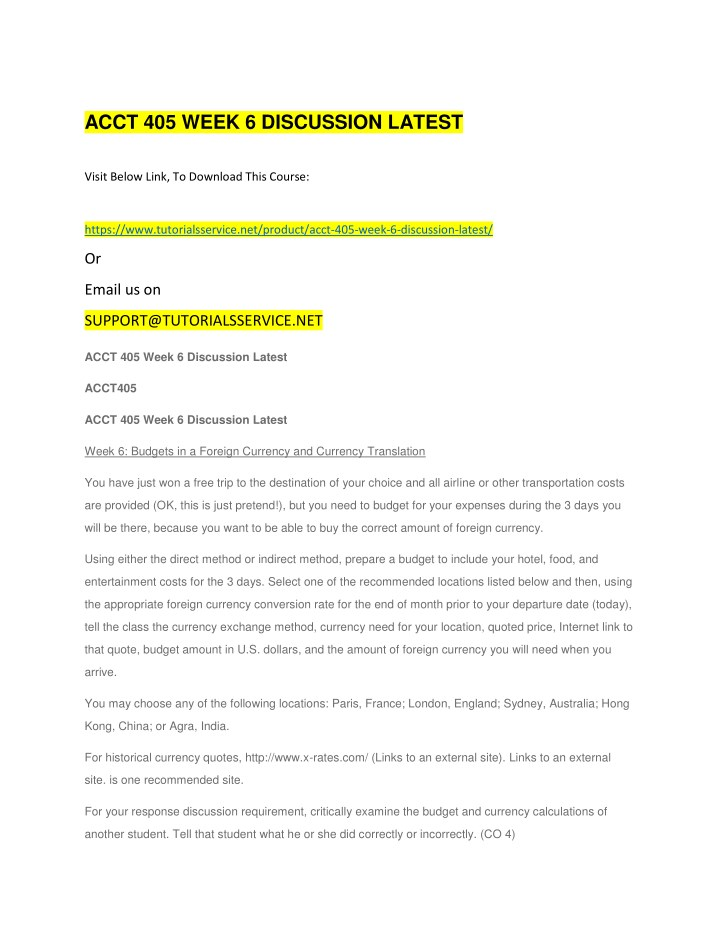 acct 405 week 6 discussion latest n.