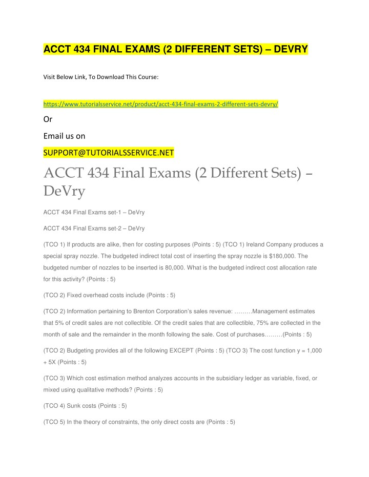acct 434 final exams 2 different sets devry n.