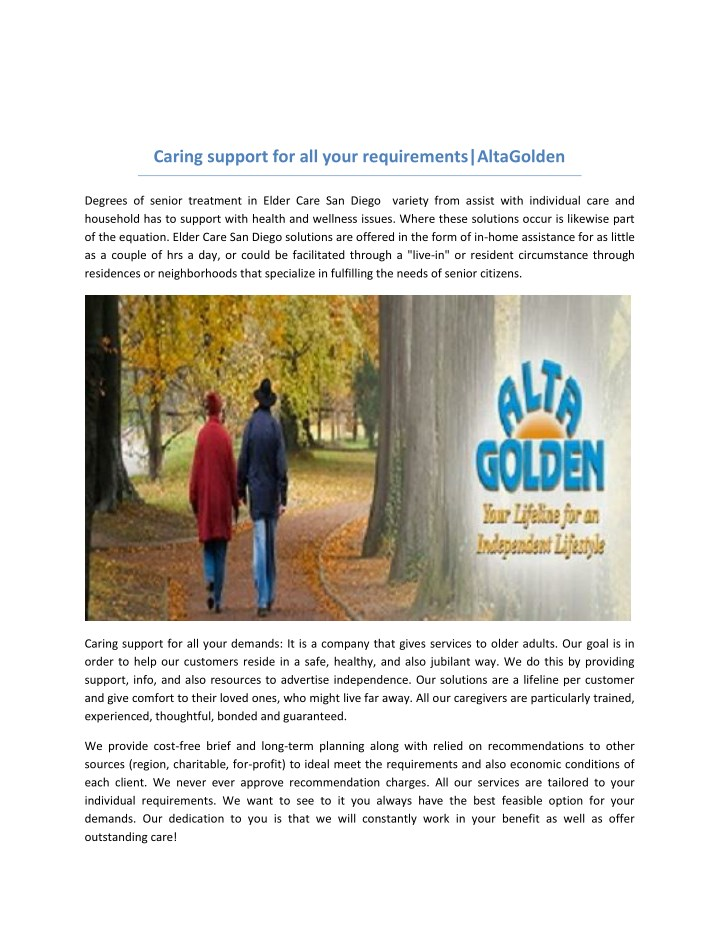 caring support for all your requirements n.