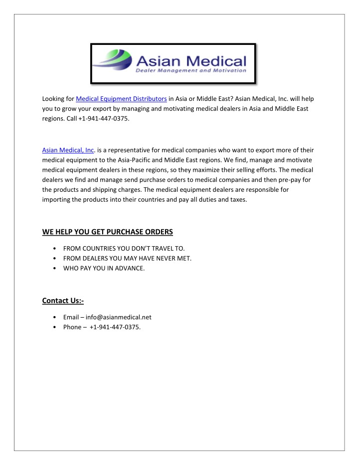 looking for medical equipment distributors n.