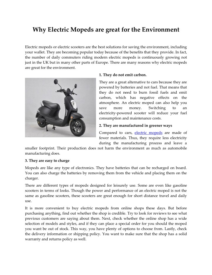 why electric mopeds are great for the environment n.
