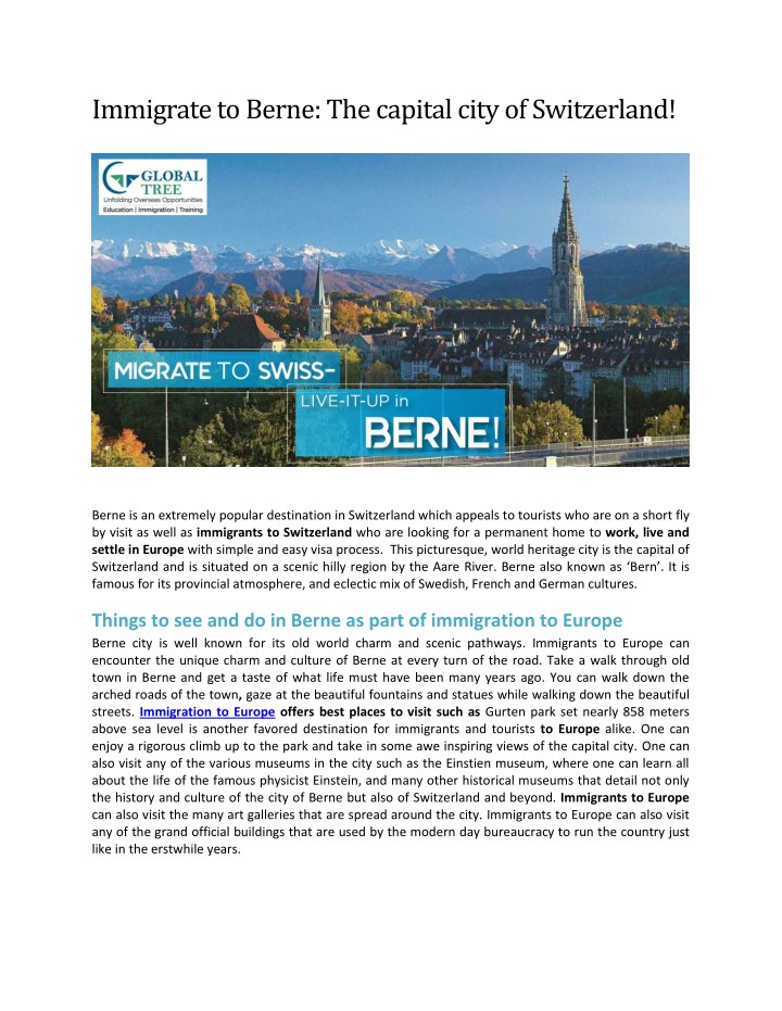 immigrate to berne the capital city of switzerland n.