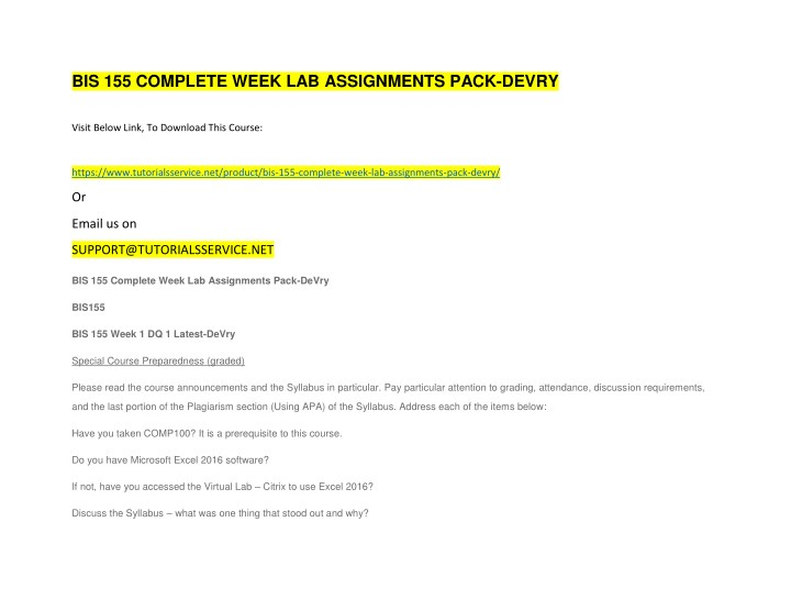 bis 155 complete week lab assignments pack devry n.