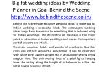 big fat wedding ideas by wedding planner in goa behind the scene http www behindthescene co in 3