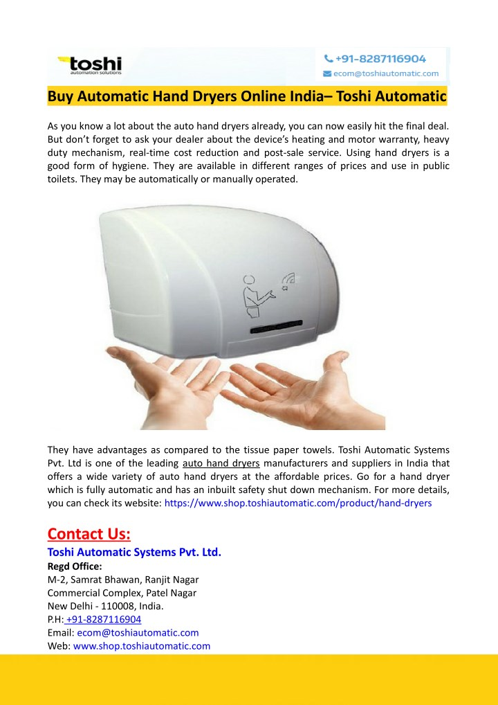 buy automatic hand dryers online india toshi n.