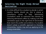 selecting the right study abroad destination