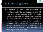 visa counselling contd
