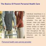the basics of parent personal health care