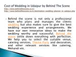 cost of wedding in udaipur by behind the scene 3