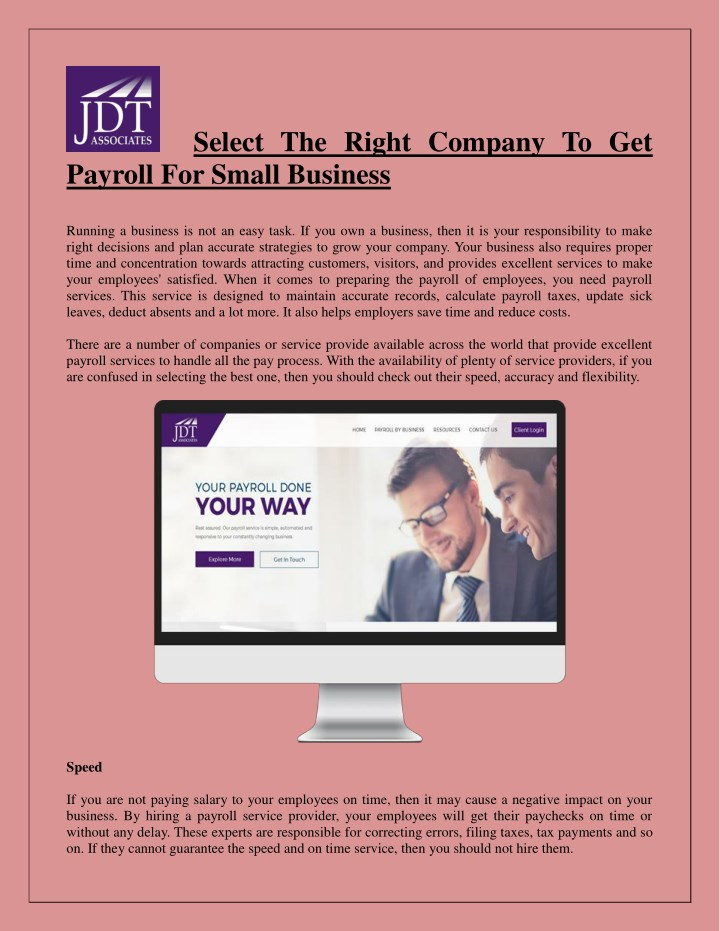 select the right company to get payroll for small n.