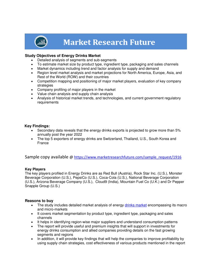 study objectives of energy drinks market detailed n.
