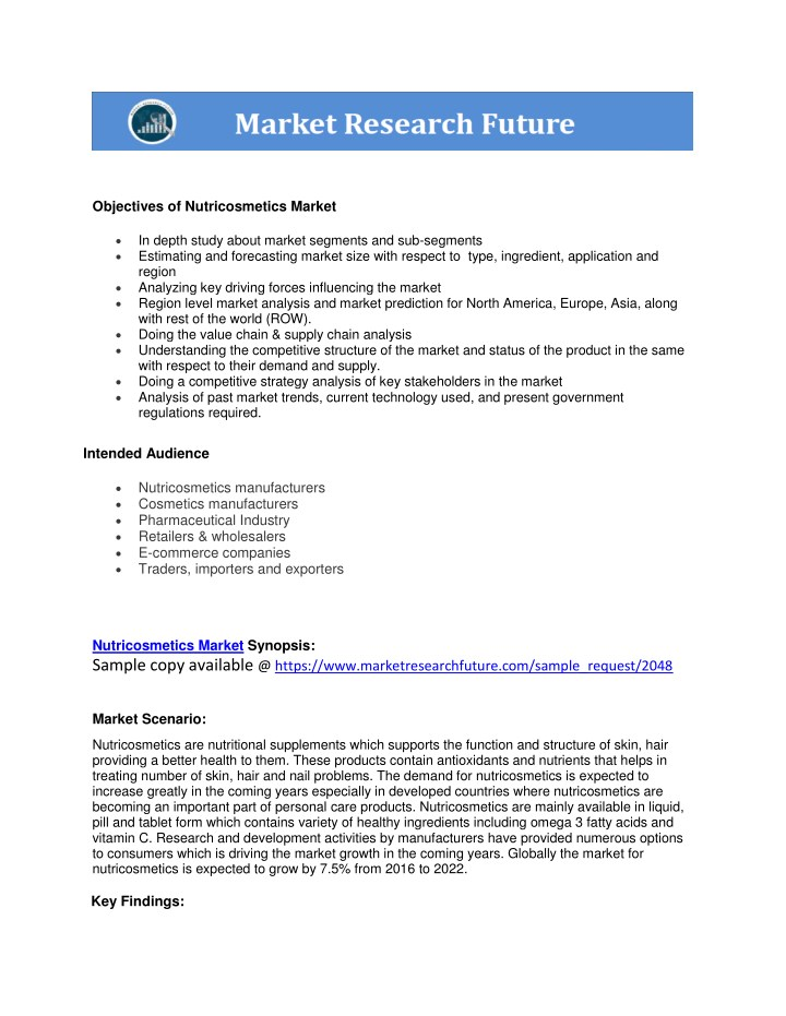 objectives of nutricosmetics market n.
