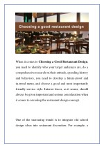 when it comes to choosing a good restaurant design