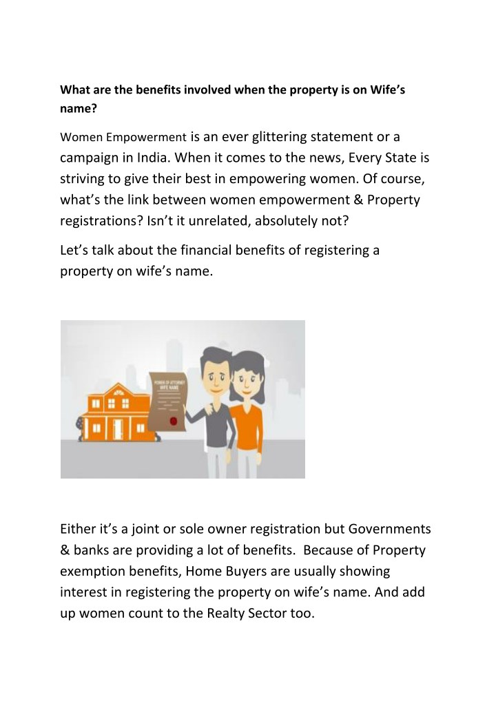 what are the benefits involved when the property n.