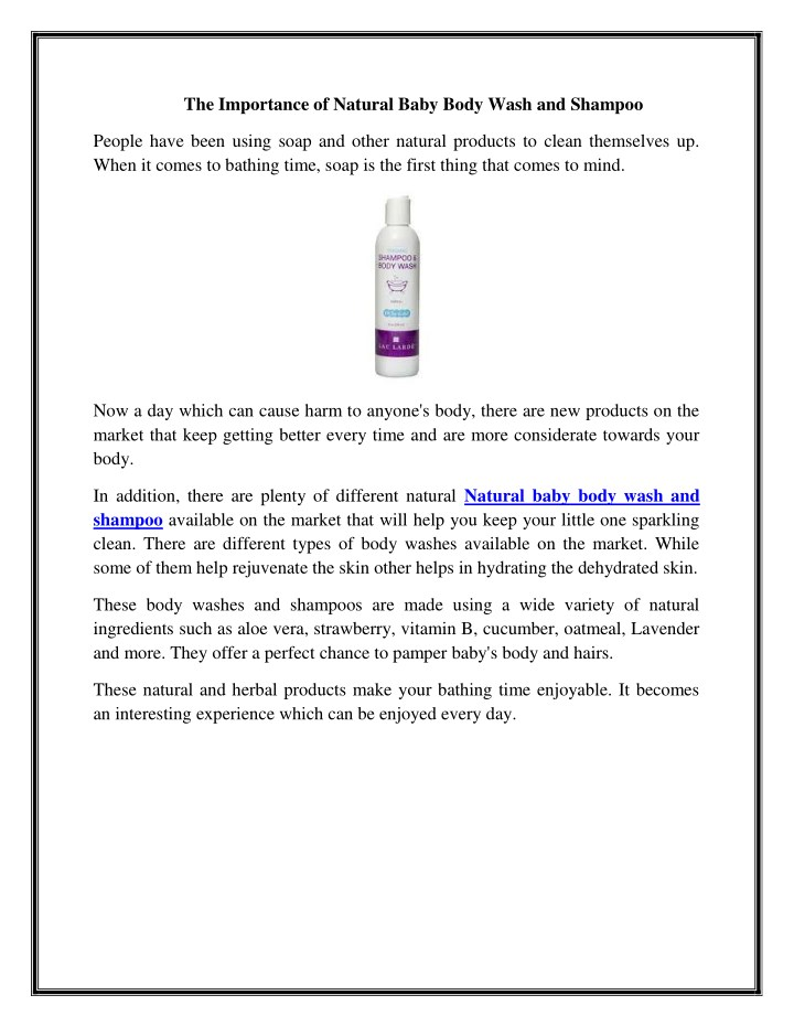 the importance of natural baby body wash n.