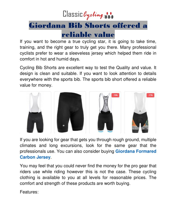 giordana bib shorts offered a reliable value n.