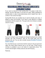 giordana bib shorts offered a reliable value