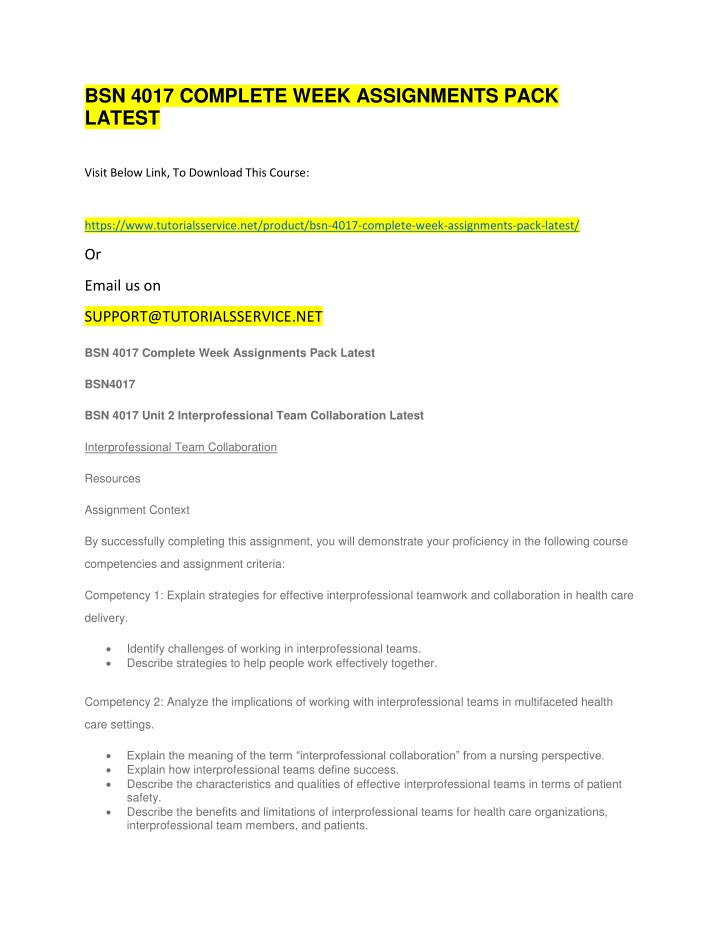 bsn 4017 complete week assignments pack latest n.