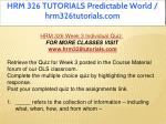hrm 326 tutorials predictable world 22