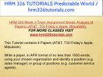hrm 326 tutorials predictable world 23