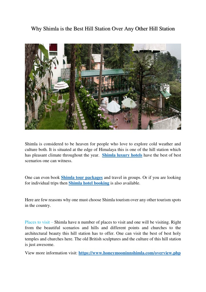 why shimla is the best hill station over n.