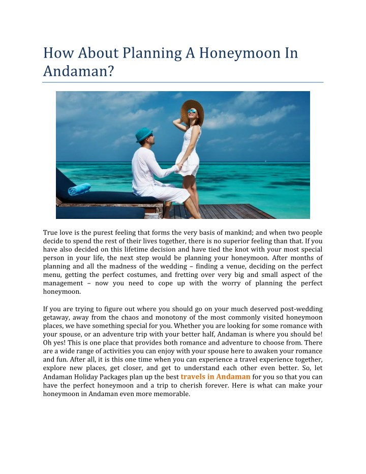 how about planning a honeymoon in andaman n.