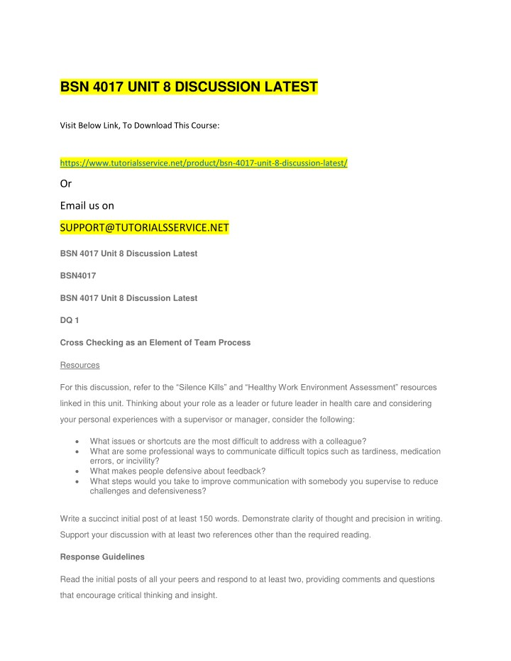 bsn 4017 unit 8 discussion latest n.