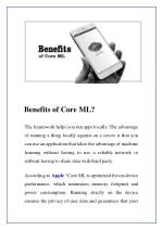 benefits of core ml