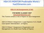 hsa 515 mentor predictable world hsa515mentor com 1