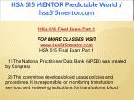 hsa 515 mentor predictable world hsa515mentor com 2