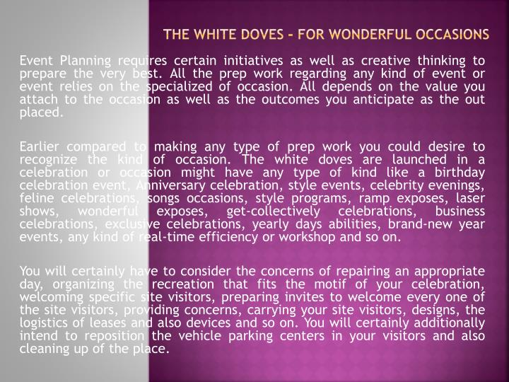 the white doves for wonderful occasions n.