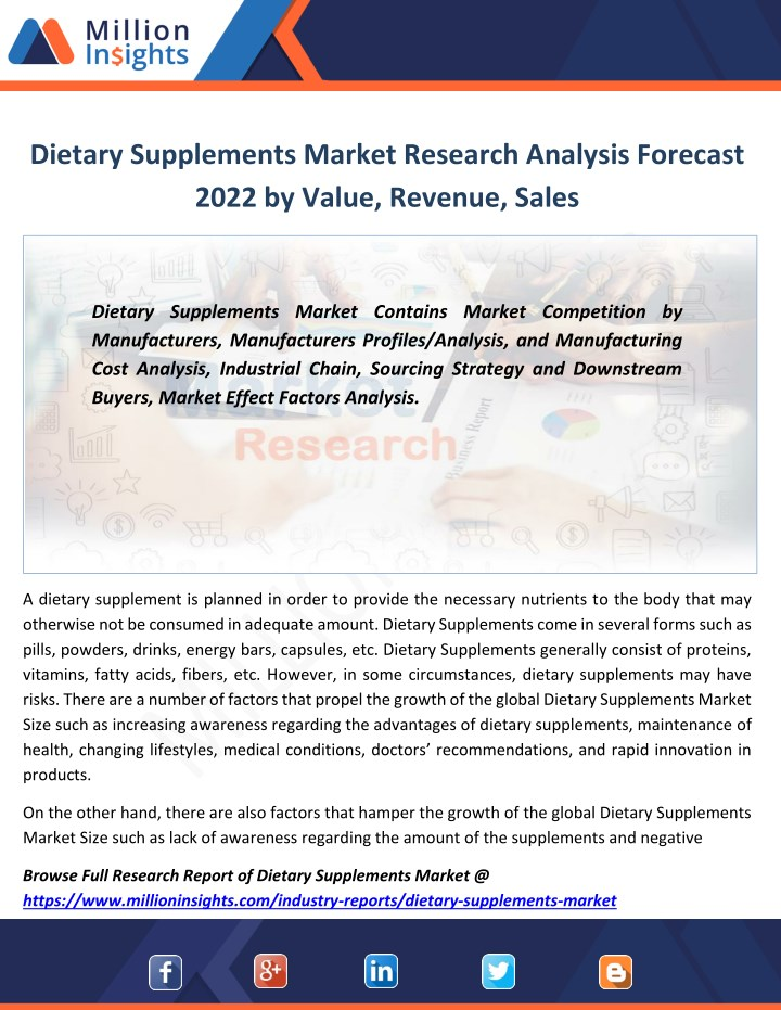 dietary supplements market research analysis n.