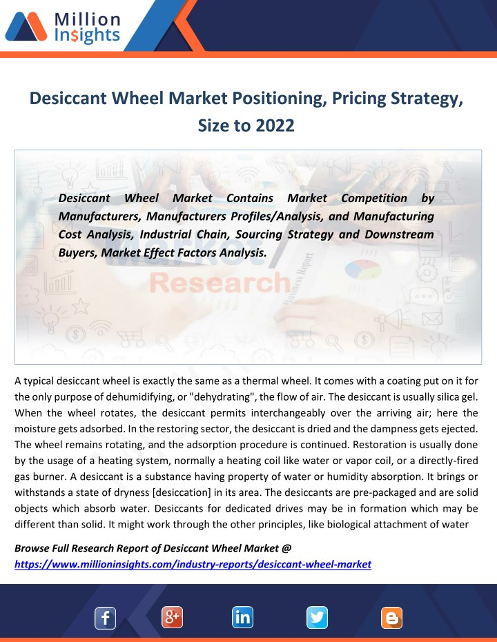 desiccant wheel market positioning pricing n.
