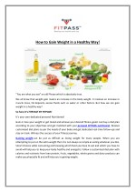 how to gain weight in a healthy way