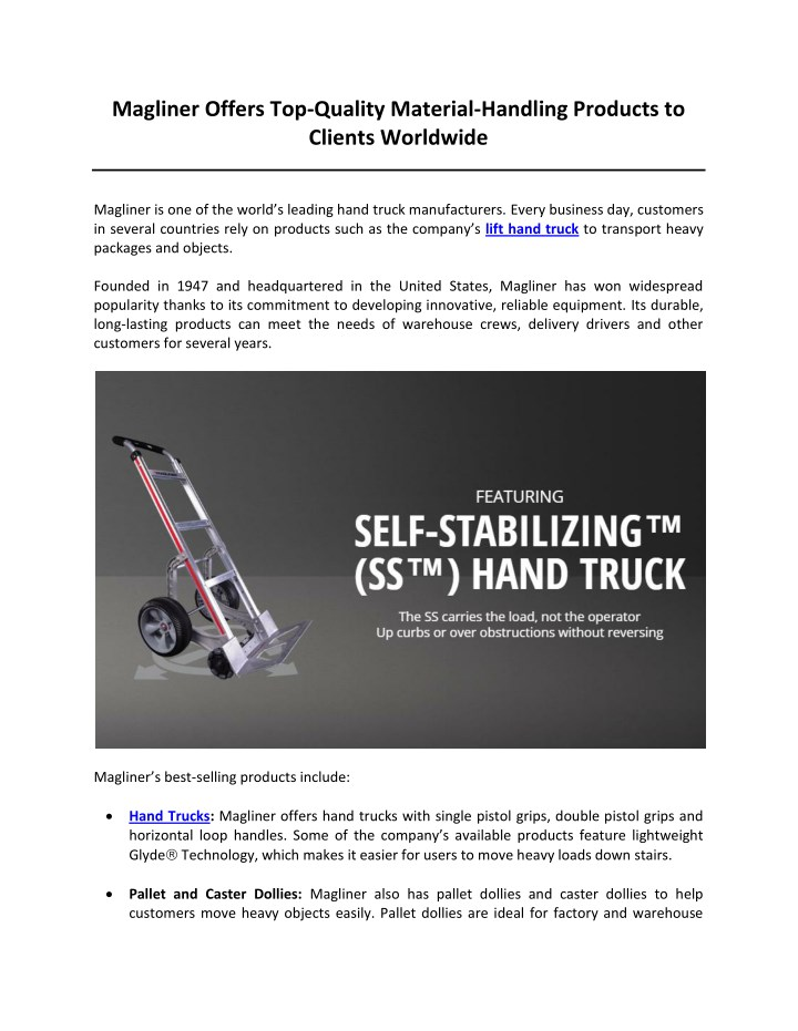 magliner offers top quality material handling n.