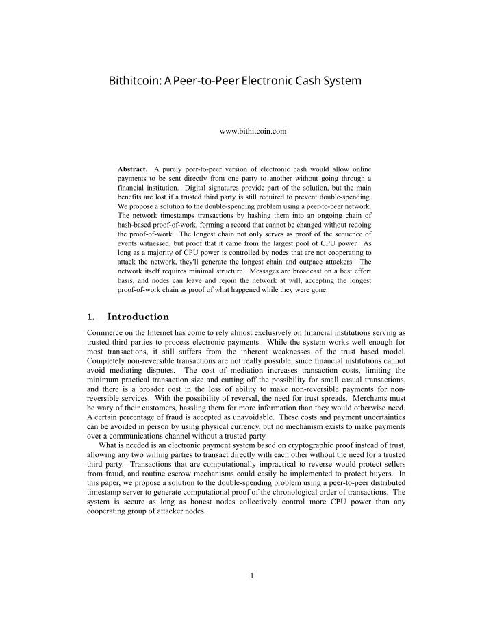 bithitcoin a peer to peer electronic cash system n.