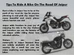 tips to ride a bike on the road of jaipur