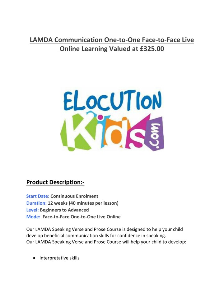 lamda communication one to one face to face live n.