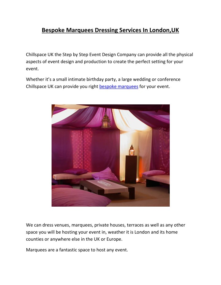 bespoke marquees dressing services in london uk n.