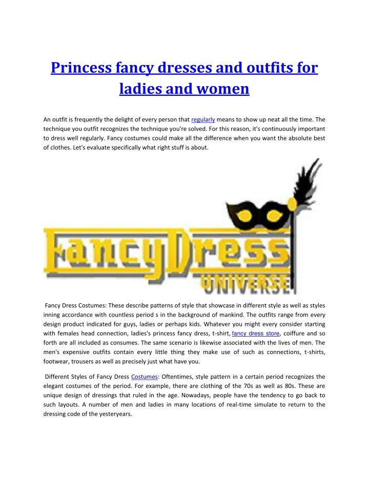 princess fancy dresses and outfits for ladies n.
