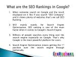 what are the seo rankings in google