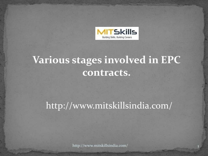 various stages involved in epc contracts n.