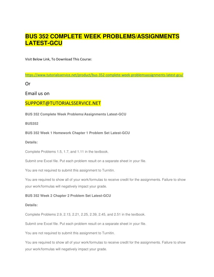 bus 352 complete week problems assignments latest n.