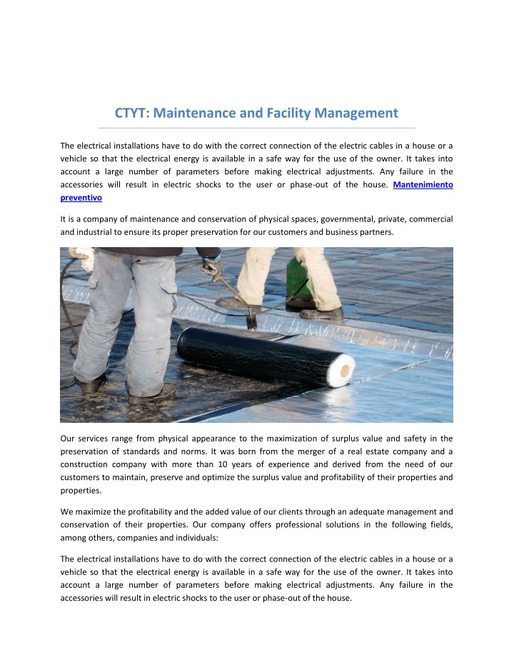 ctyt maintenance and facility management n.