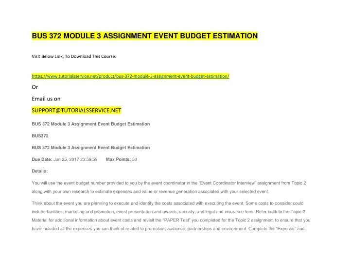 bus 372 module 3 assignment event budget n.