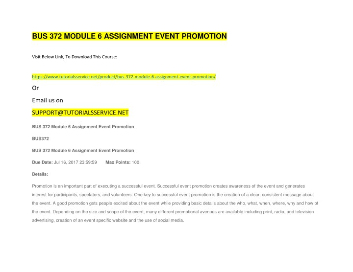 bus 372 module 6 assignment event promotion n.