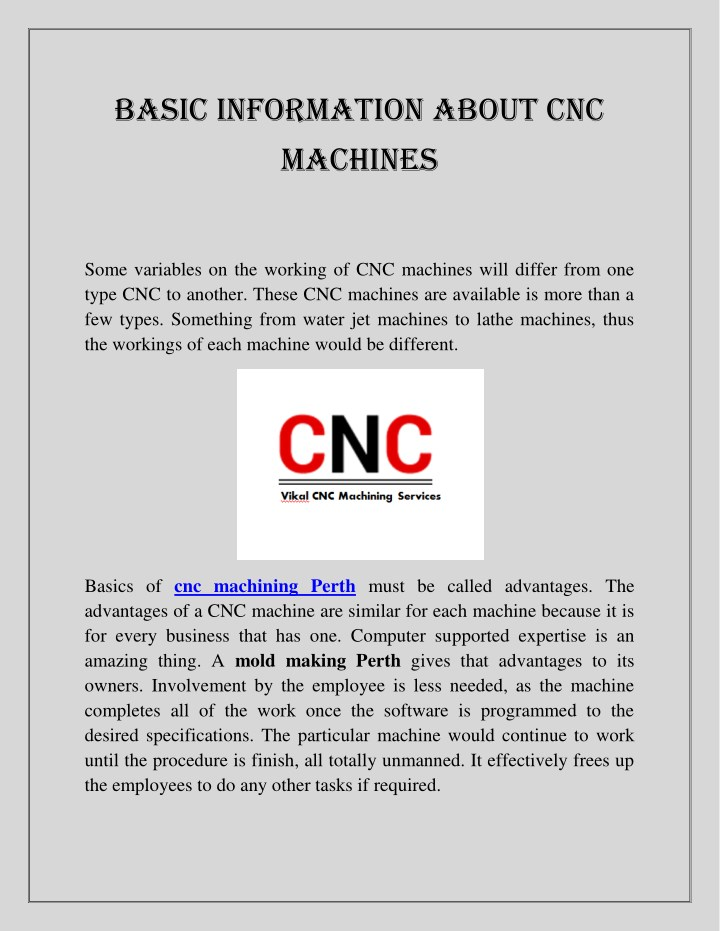 basic information about cnc machines n.