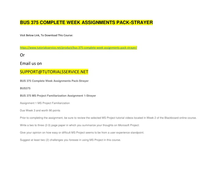 bus 375 complete week assignments pack strayer n.