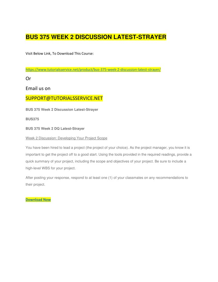 bus 375 week 2 discussion latest strayer n.